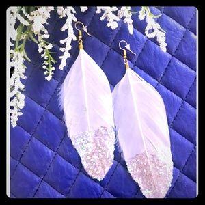 White Feather Glitter Earrings
